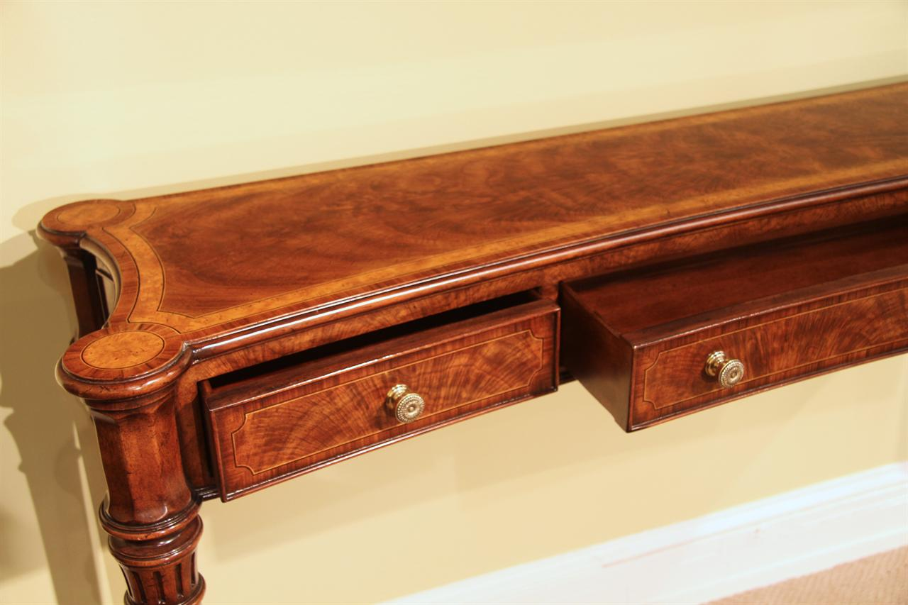Narrow walnut console table for dining room or foyer for Yew sofa table