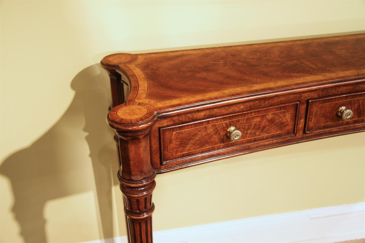 Narrow Design, Hard To Find Console For A Higher End Home. Narrow Flame  Walnut And Yew Wood Console Table ...