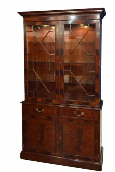 Narrow Mahogany China Cabinet with two Doors