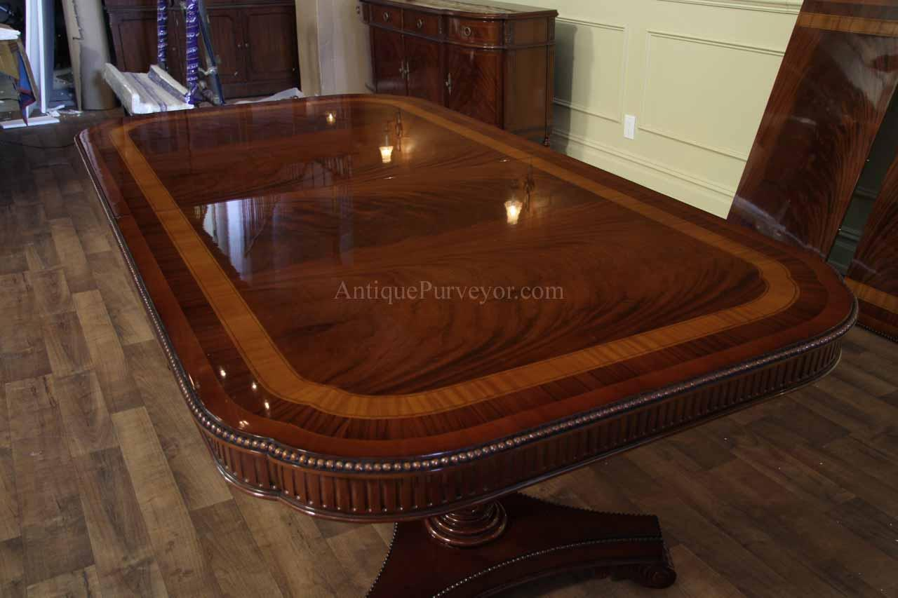 narrow regency style inlaid mahogany dining table seats 10 12 scalloped corner ebay. Black Bedroom Furniture Sets. Home Design Ideas