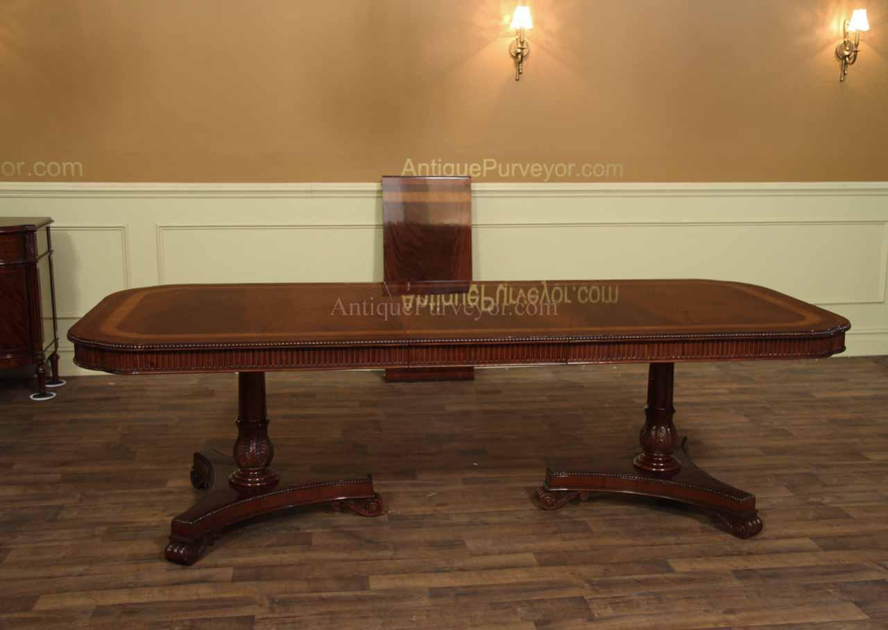 Narrow regency style inlaid mahogany dining table seats for 12 seater wooden dining table