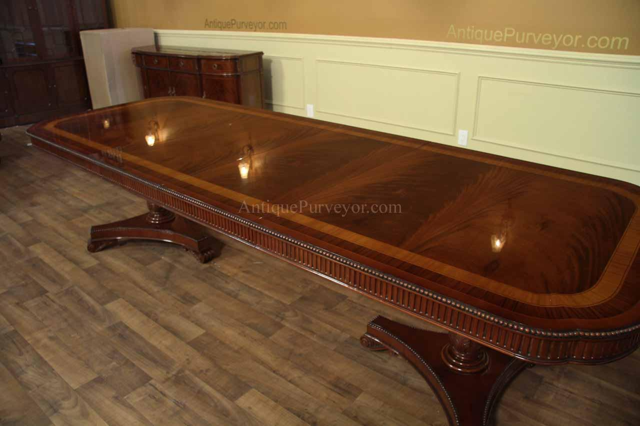 Narrow regency style inlaid mahogany dining table seats for 10 seater dinning table