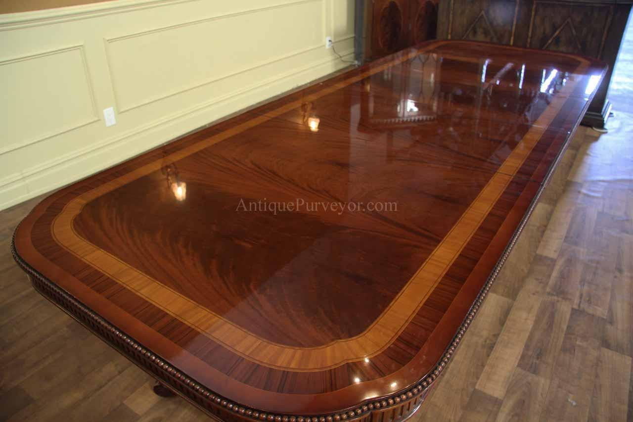 Narrow Regency Style Inlaid Mahogany Dining Table With Leaves Seats12