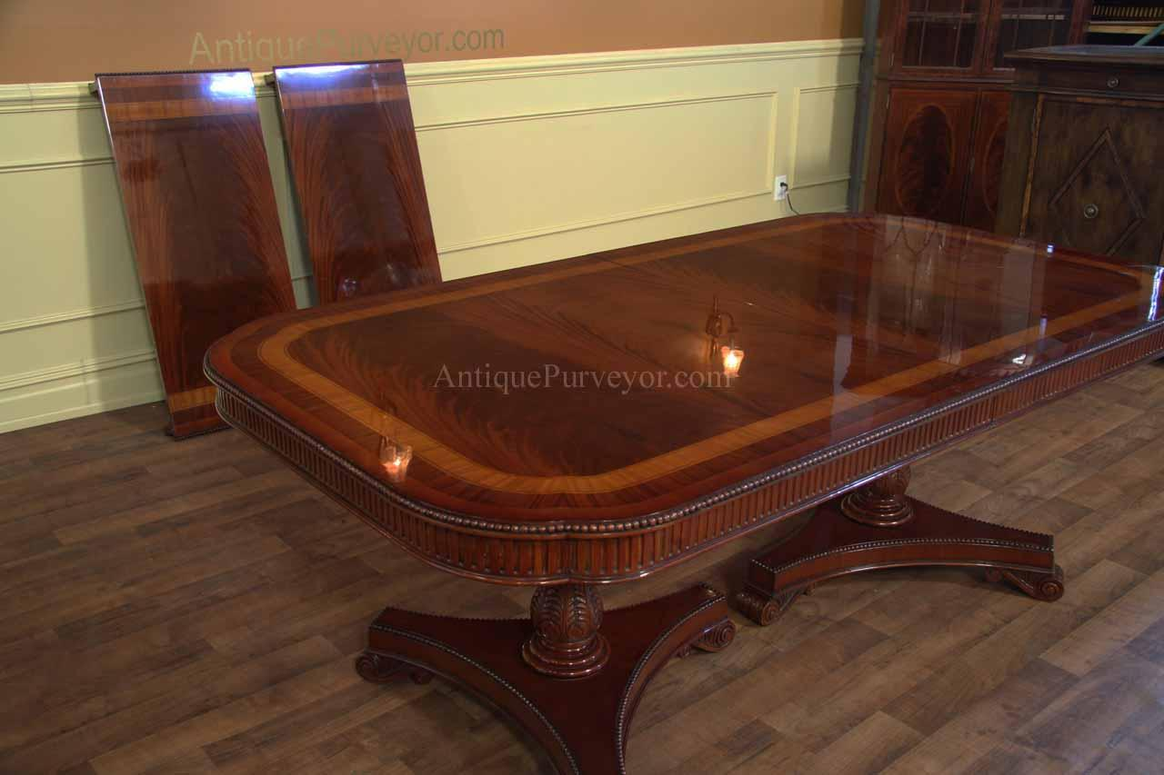 narrow regency style inlaid mahogany dining table seats 10 12 scalloped corner. Black Bedroom Furniture Sets. Home Design Ideas