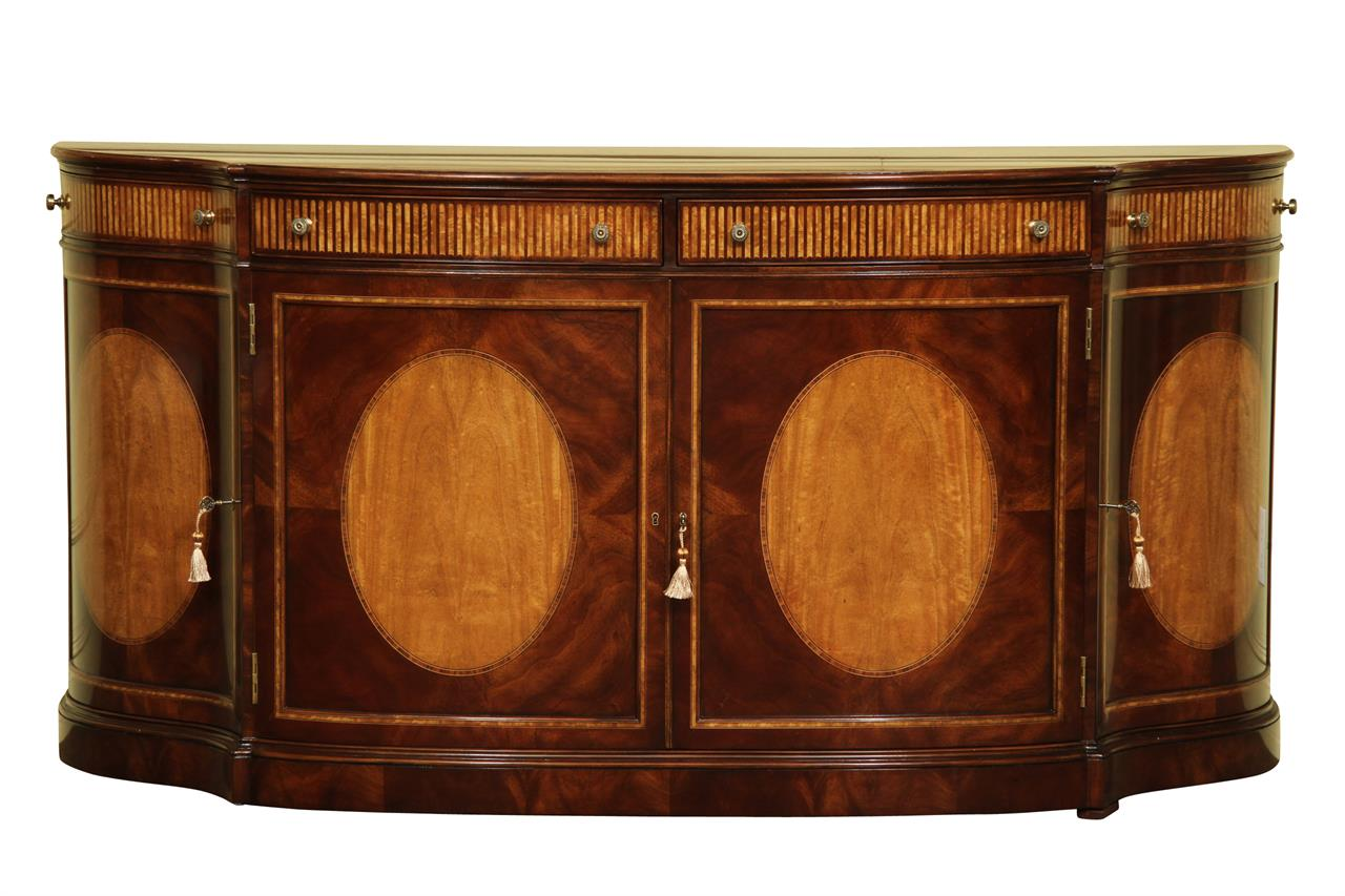 New 18th Century Satinwood Inlaid Mahogany Sideboard Cabinet