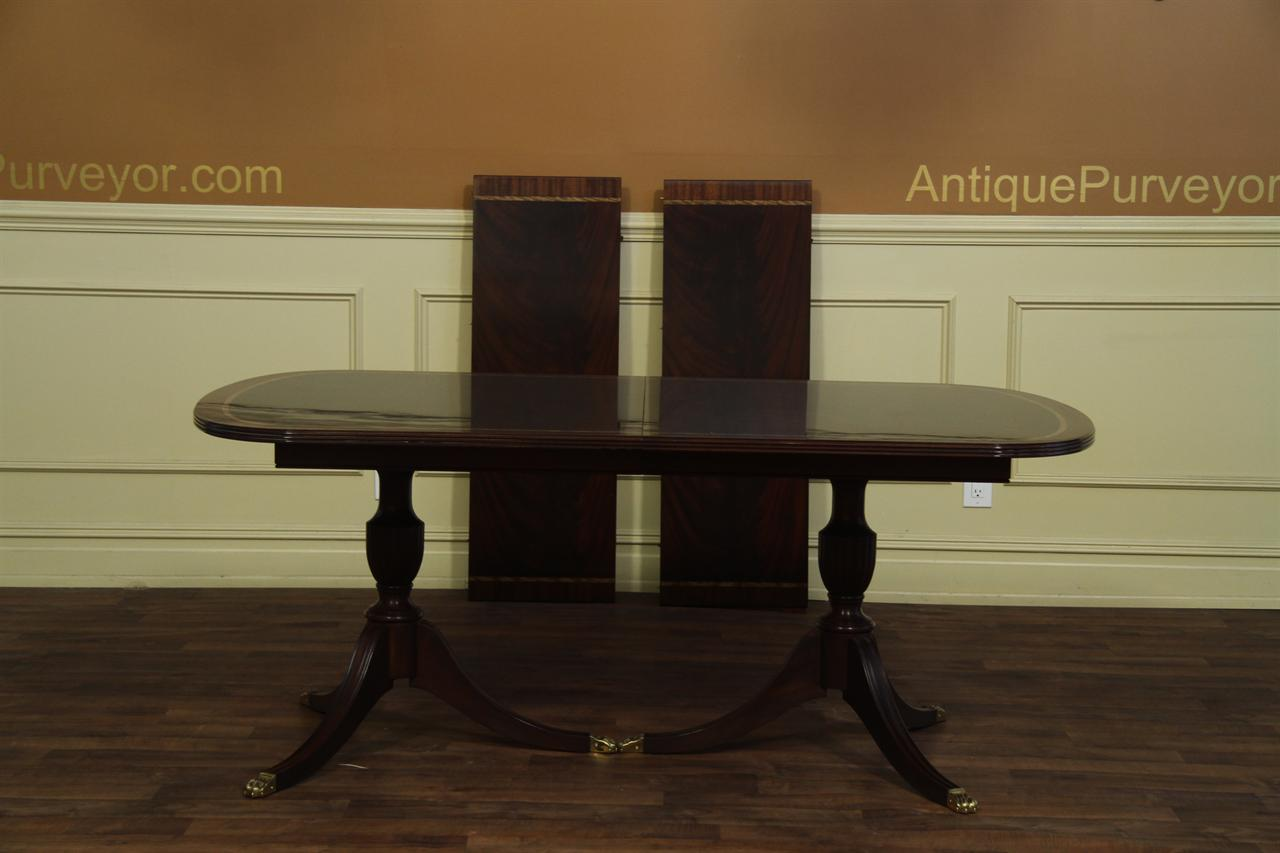 New american made antique style double pedestal dining table for Latest style dining table