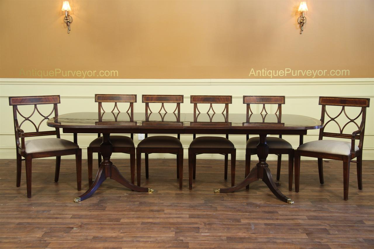 Mahogany antique reproduction dining table. American made mahogany dining  table seats 10 - New American Made Antique Style Double Pedestal Dining Table