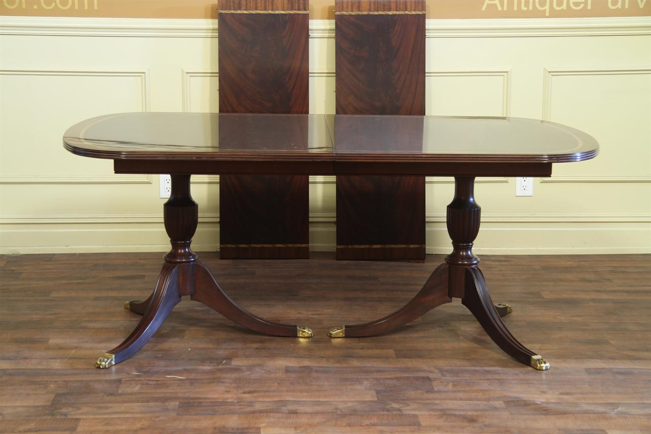 New American Made Double Pedestal Dining Table Antique Reproduction