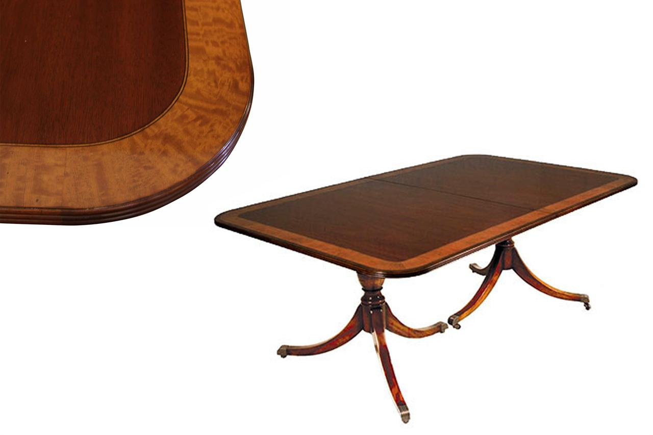 American Made Double Pedestal Mahogany Dining Table