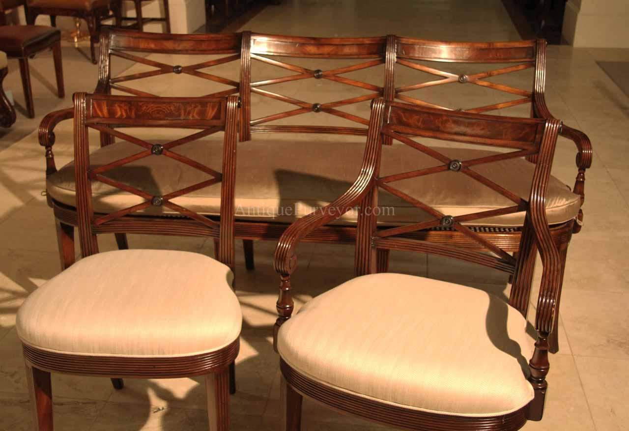 New High End Antique Reproduction Cross Back Dining Chairs