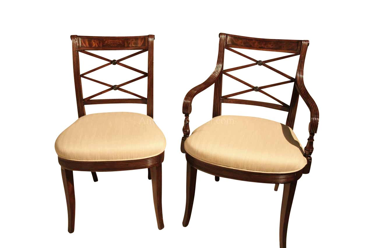 Mahogany Cross Back Dining Chairs Fine Antique Reproductions