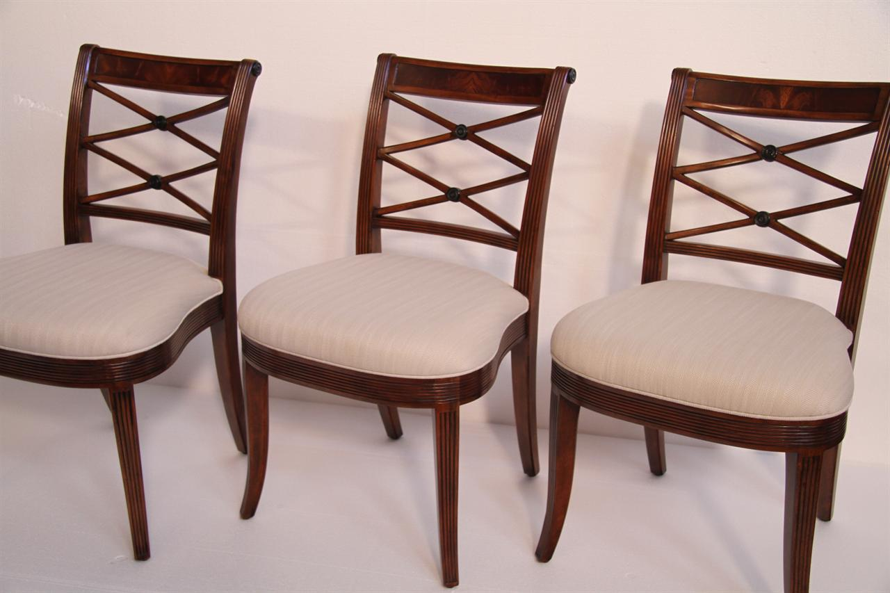 New High End Antique Reproduction Cross Back Dining Chairs - Mahogany Cross Back Dining Chairs-Fine Antique Reproductions