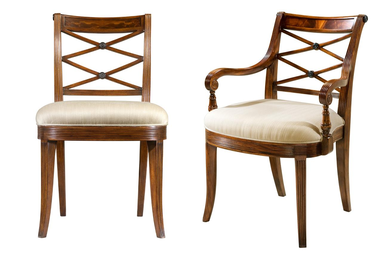 Rooms: Mahogany Cross Back Dining Chairs-Fine Antique Reproductions
