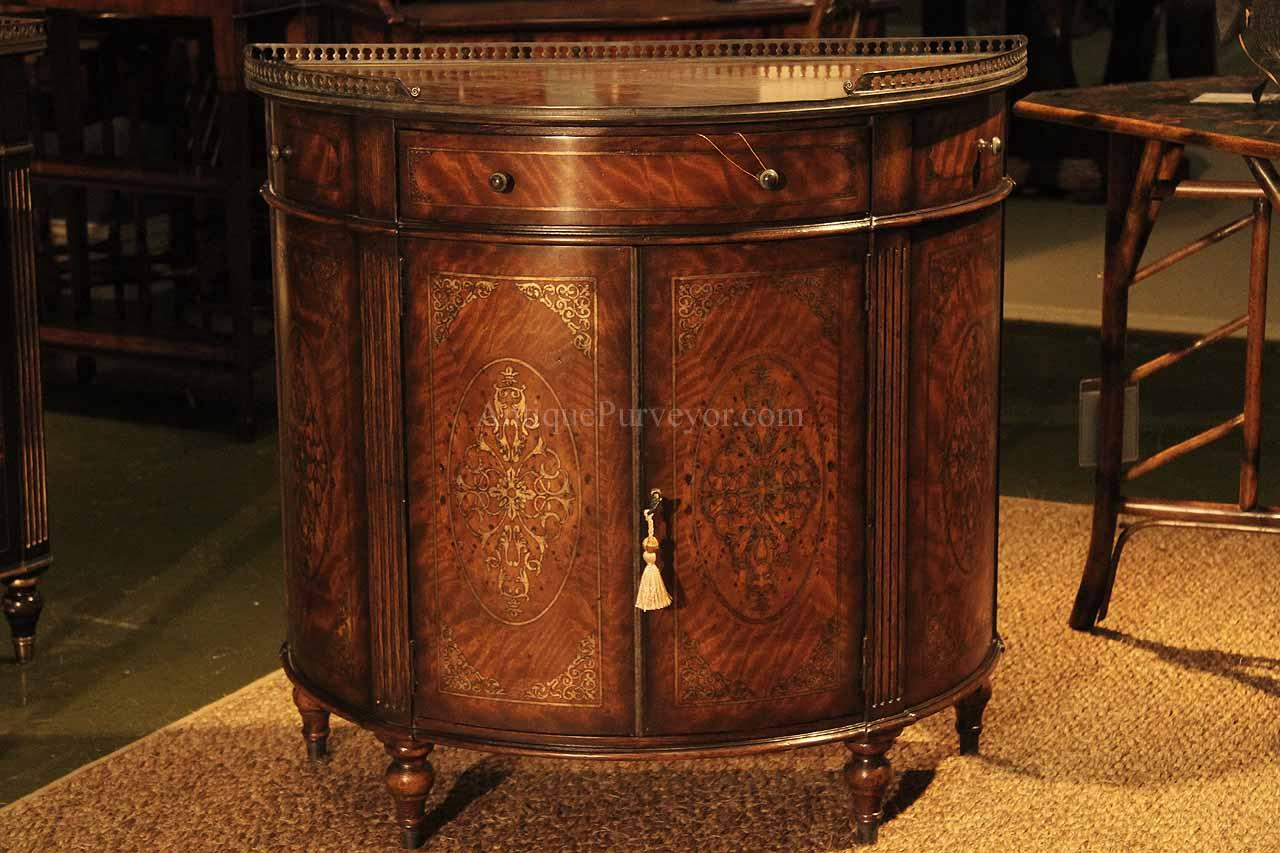 Oak and Movingui Adams Style Demilune with Carved and Gilt Decoration