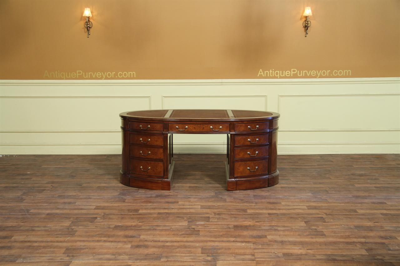 Leather Top Oval Desk In Burled Walnut
