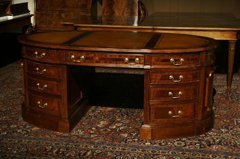 Leather top partners desk, Oval partners desk - Oval Partners Desk Mahogany Desk Leather Top Desk