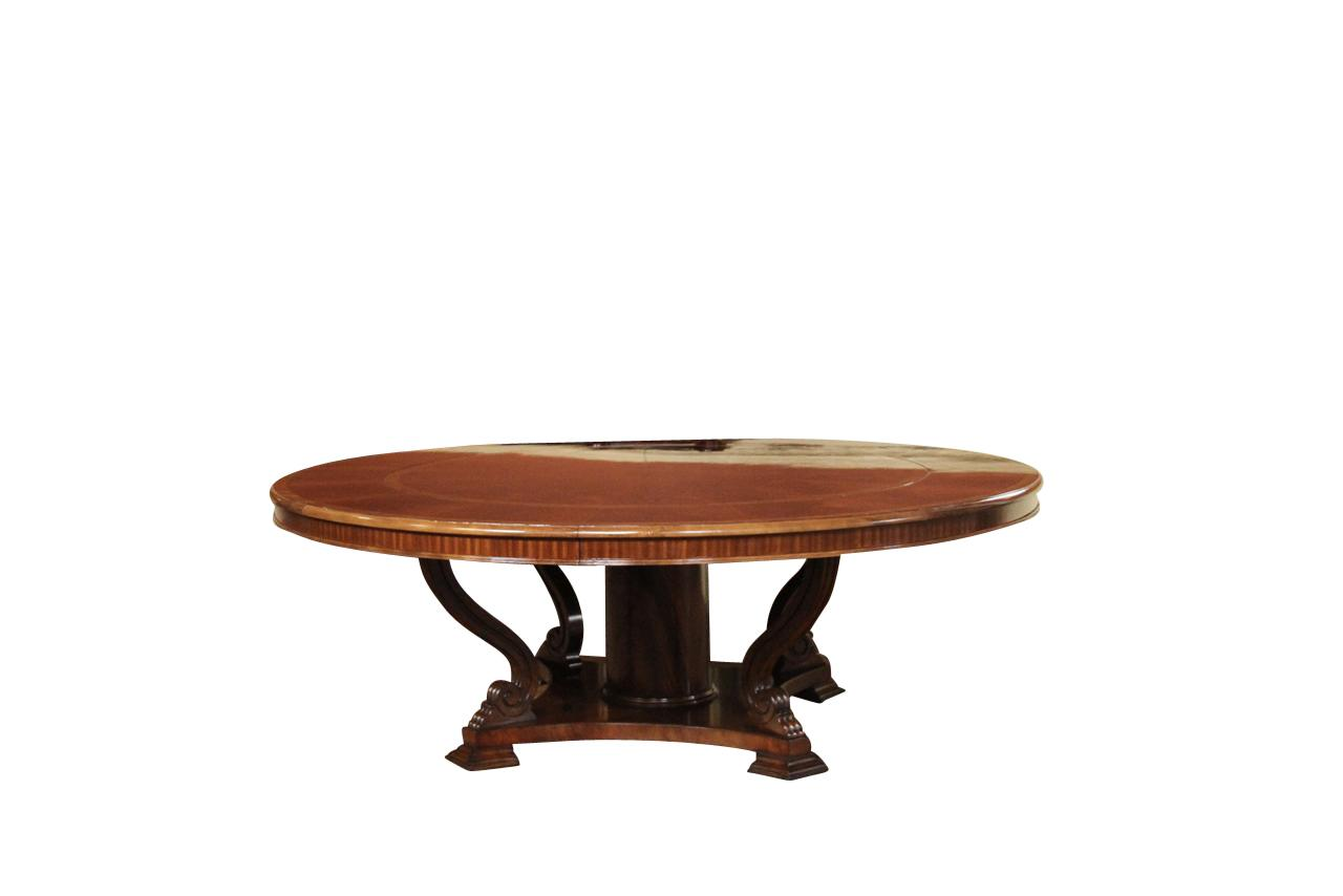Extra large 88 round mahogany dining table with perimeter for Large round dining table with leaf