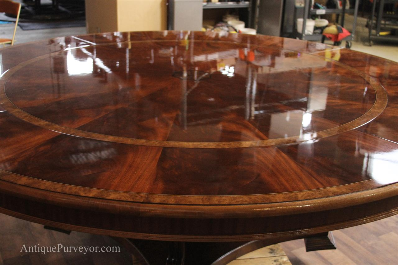 Extra Large 88 Round Mahogany Dining Table With Perimeter Leaves