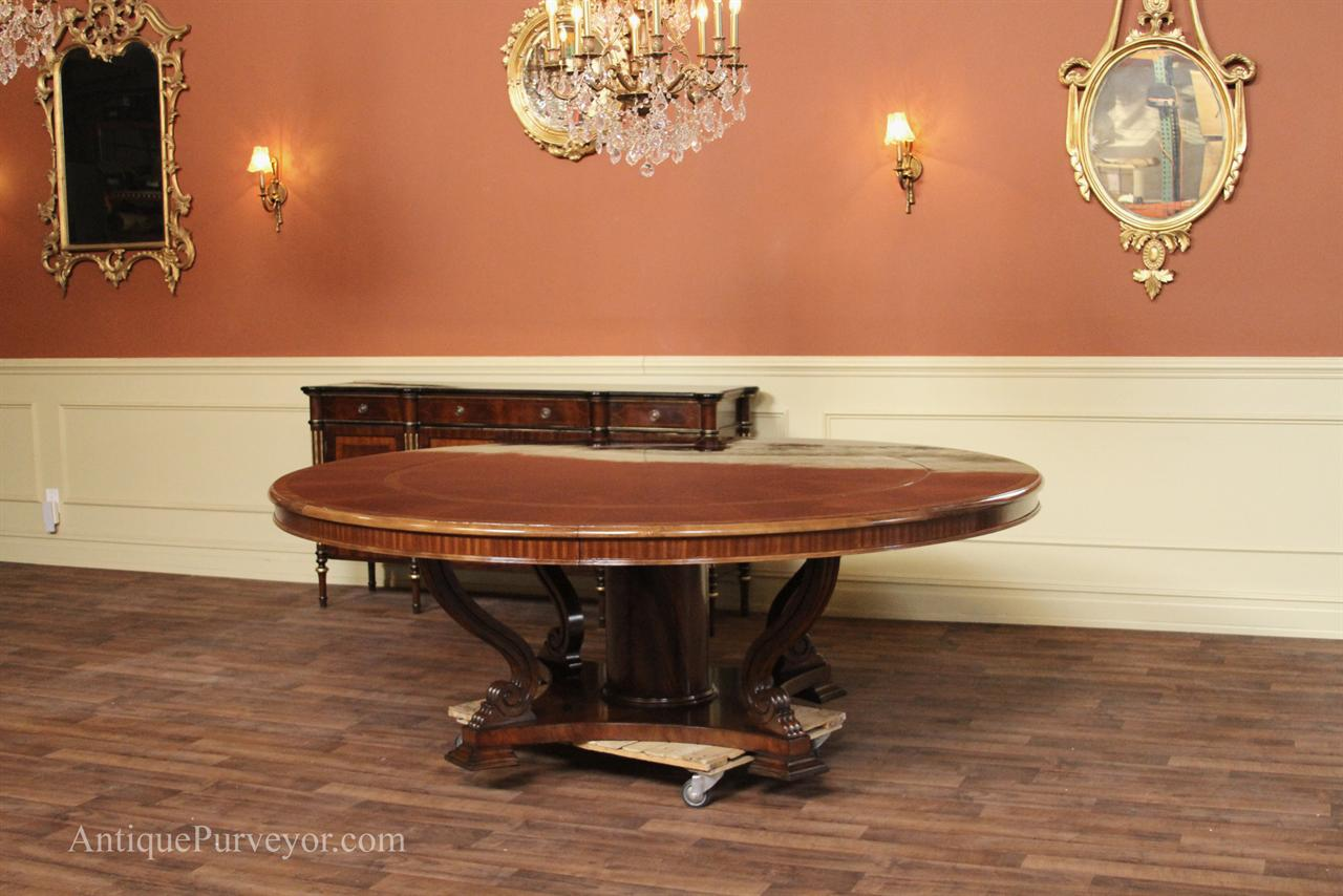 Full size perimeter dining table, extra large round mahogany dining table shown in studio