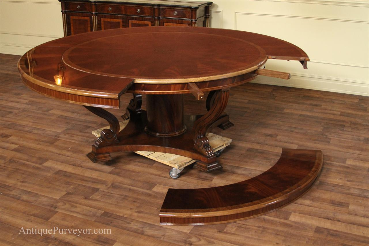 Oversized perimeter table 62 to 88 round mahogany dining for Circular dining table