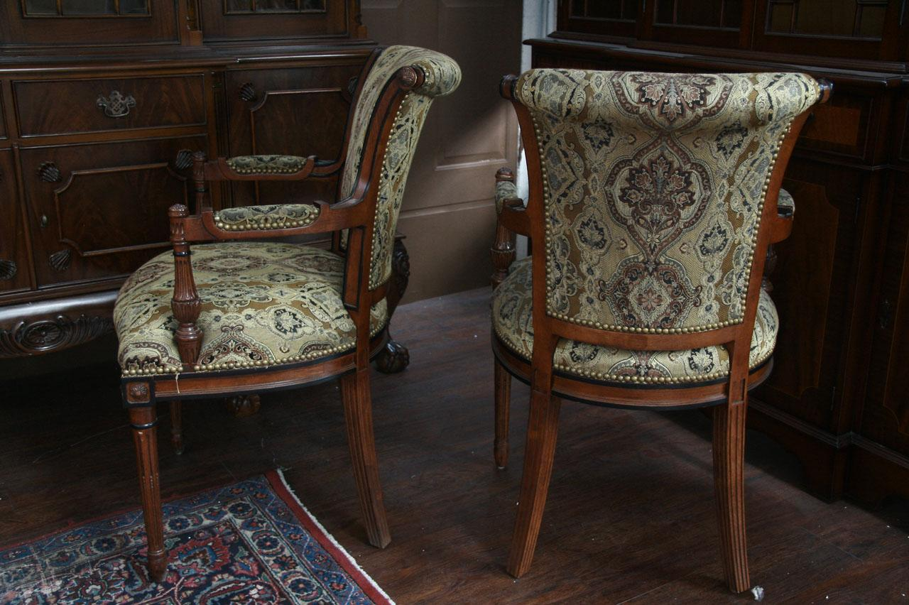 Dining Set With Upholstered Arm Chairs Chair Pads Amp Cushions