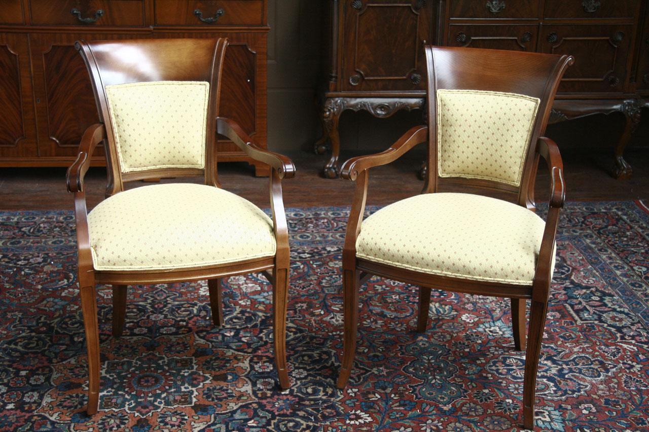 Pair Of Upholstered Back Dining Chairs