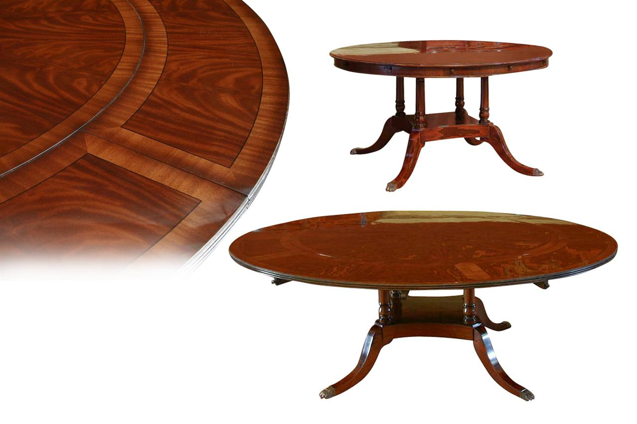 Round Mahogany Dining Room Table With Leaves American Finish