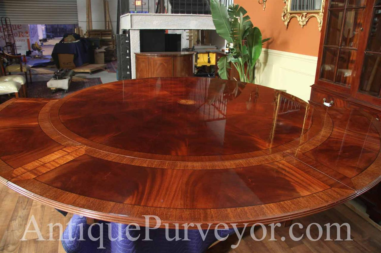 60 to 84 round brown mahogany dining table with