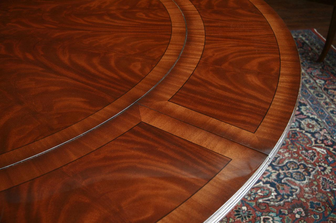 Extra Large Perimeter Table With High Sheen Banded Top And Comp Rose Center Inlay