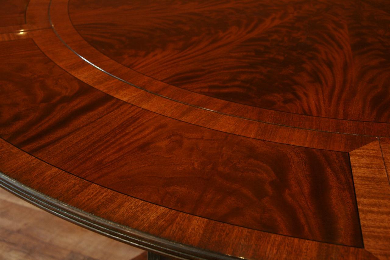 Perimeter table round dining table w perimeter leaves ebay for Round dining table with leaf