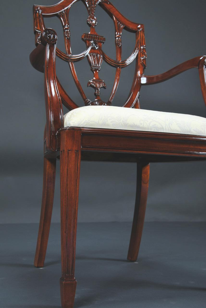 Prince Of Wales Mahogany Carved Shield Back Dining Room Chairs