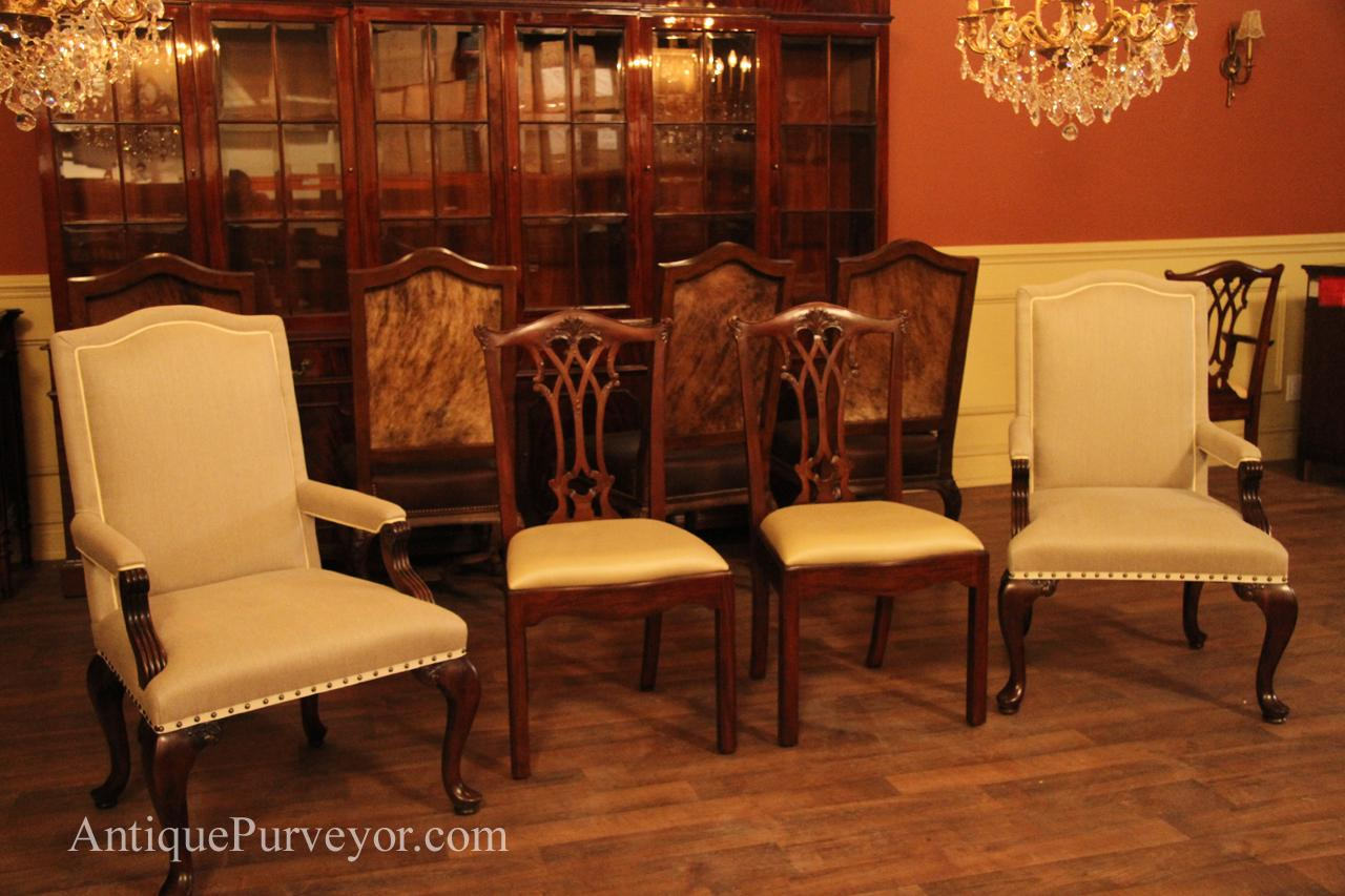Arm chairs with coordinating Chippendale side chairsUpholstered Dining Room Arm Chairs  Queen Anne  Linen Upholstery. Antique Queen Anne Upholstered Chairs. Home Design Ideas