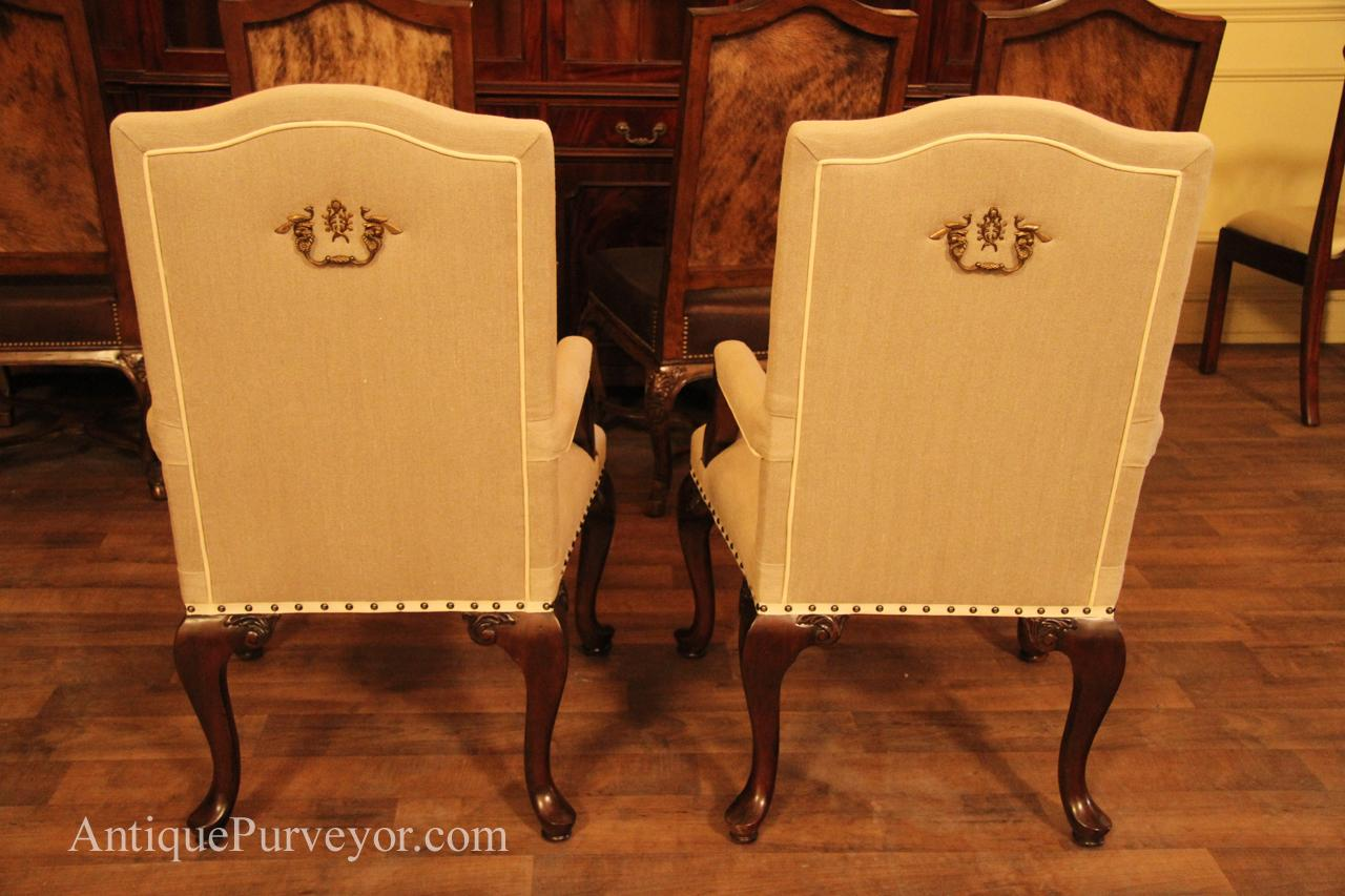 Upholstered Dining Room Arm Chairs, Queen Anne, Linen Upholstery