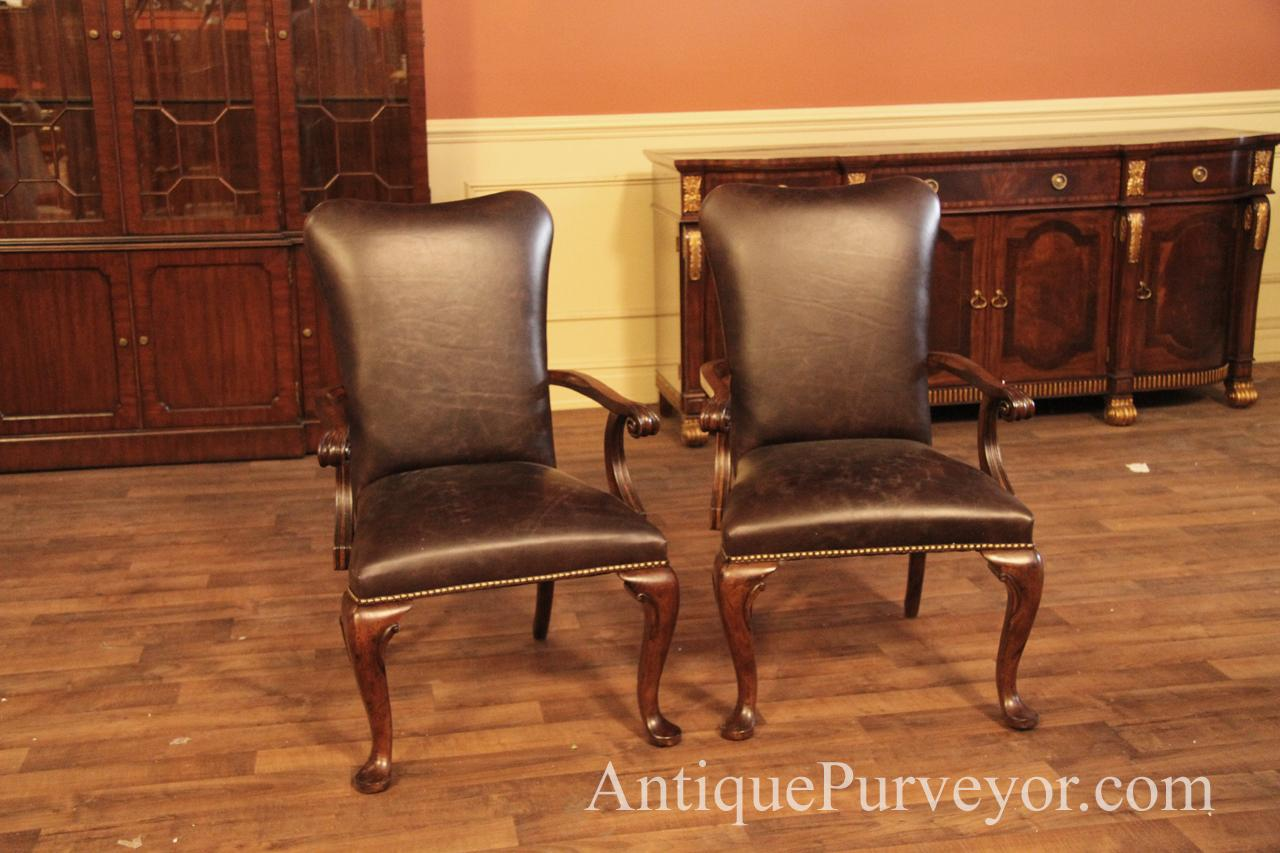 Queen Anne Leather Arm Chair With Camel Back And Brass