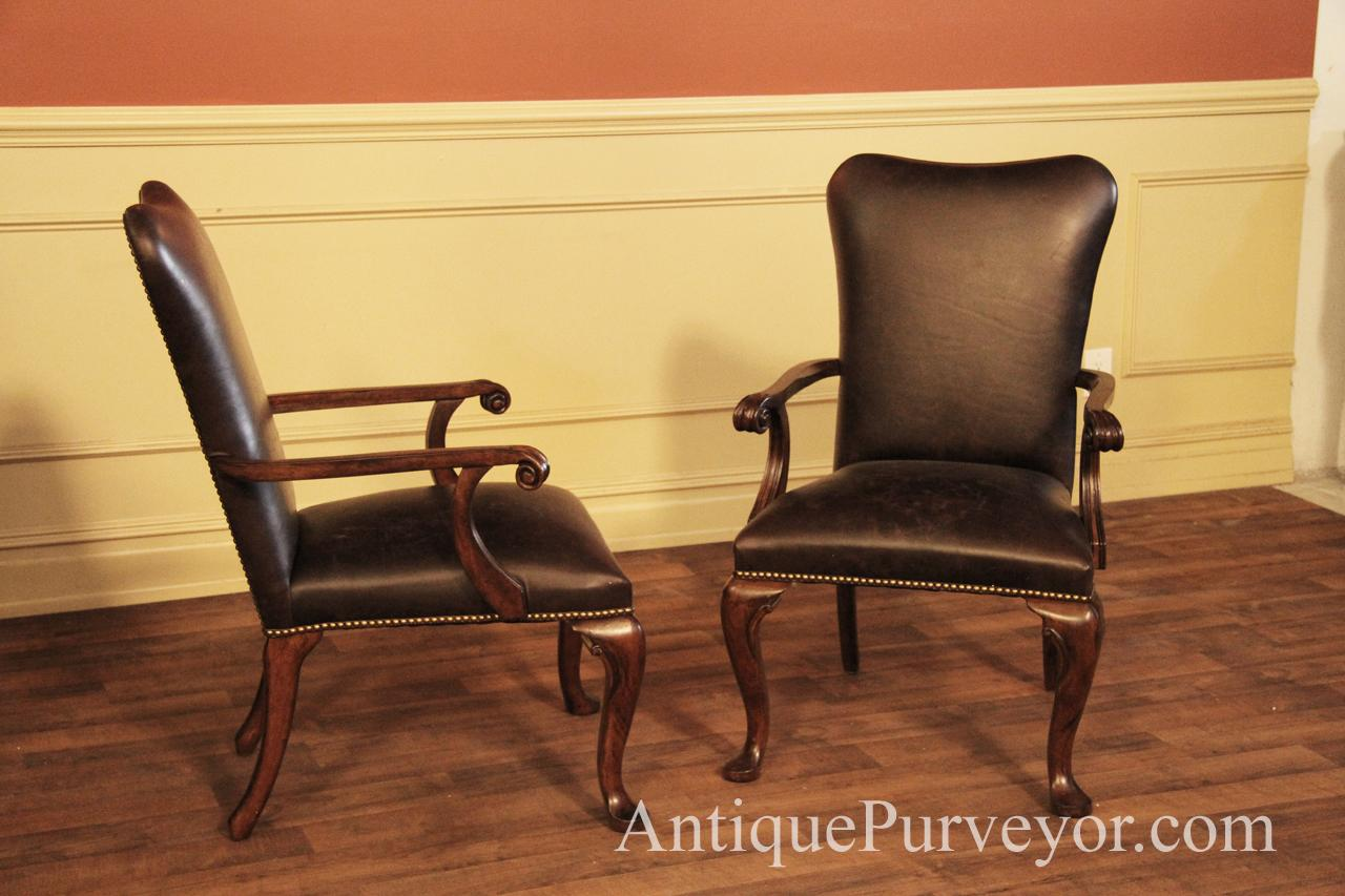 Low back arm chairs are perfect for captain chairs and for round dining  tables - Leather Upholstered Dining Room Arm Chairs With Queen Anne Feet
