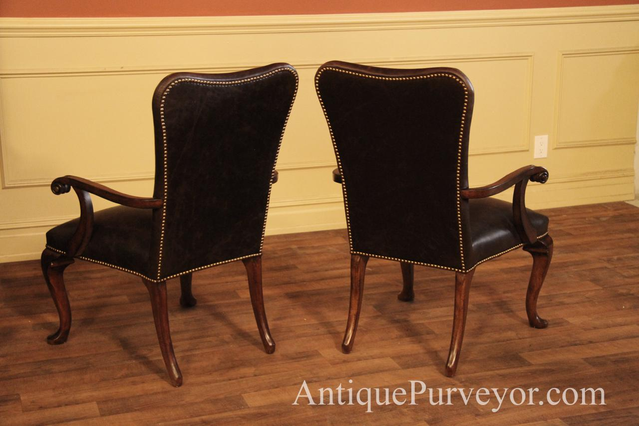 Queen Anne Leather Arm Chair with Camel Back and Brass ...