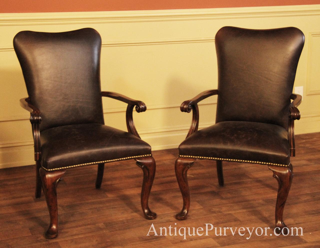 Queen Anne Leather Arm Chairs with Camel Back and Brass Nail Trim & Leather Upholstered Dining Room Arm Chairs with Queen Anne Feet