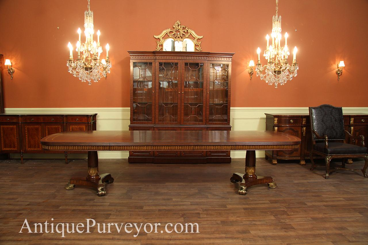 Regency Style Dining Table With Brass Scroll Feet And Gold Accents