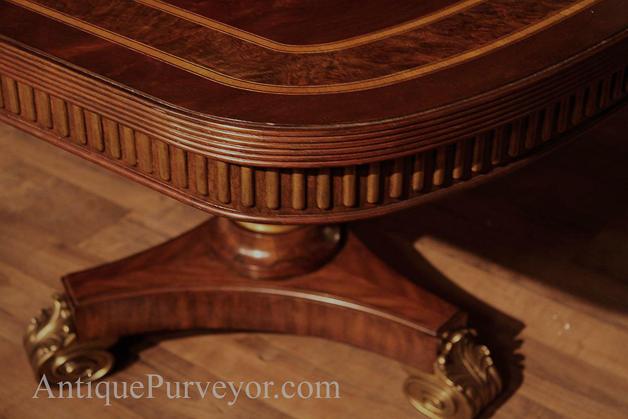 Mahogany Table With Reeded Apron And Gold Trim, Narrow Width Still Seats  12 14 People