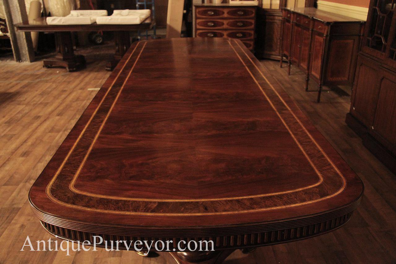 Narrow Regency Designer Mahogany Dining Table With Gold Leaf
