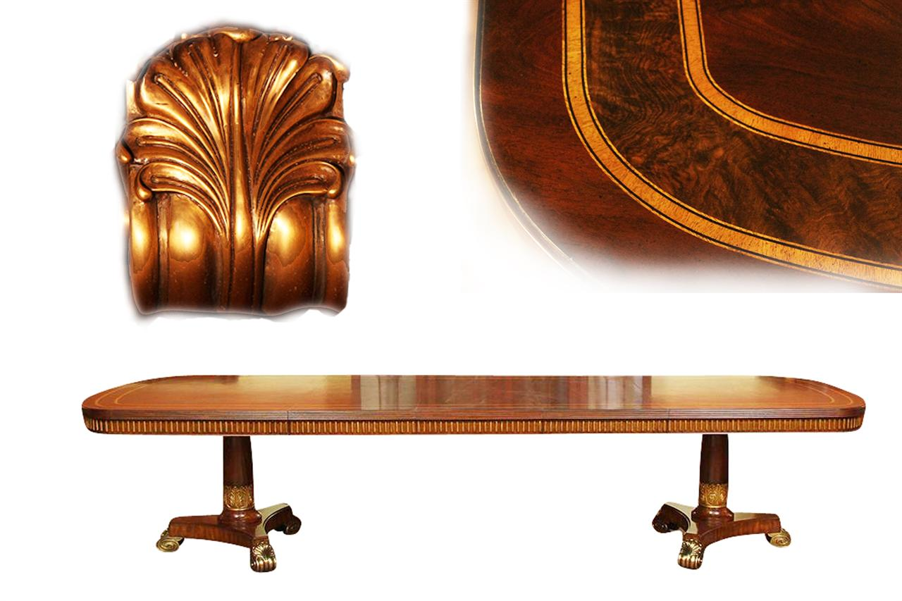 Preferred Narrow Regency Designer Mahogany Dining Table with Gold Leaf TL58