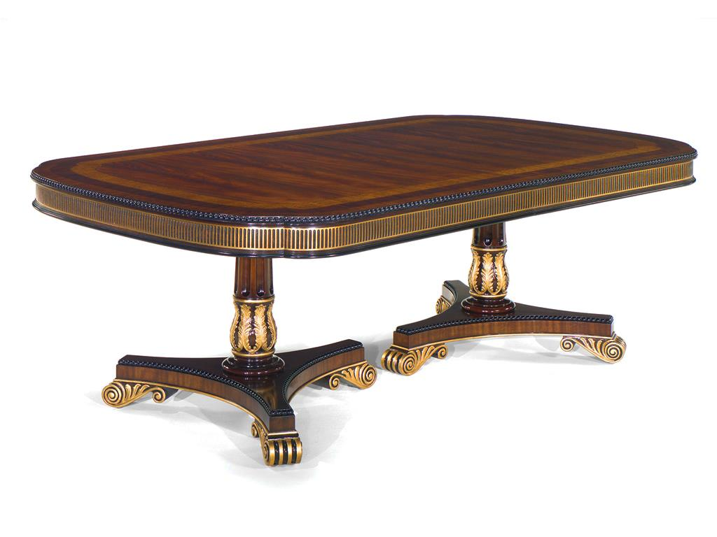 Regency Style Gold Accented Mahogany Dining Table- Double Pedestal