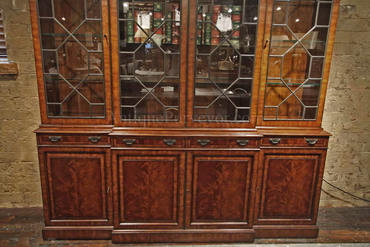 286238608d873 Traditional George III Mahogany China Cabinet Bookcase Replica