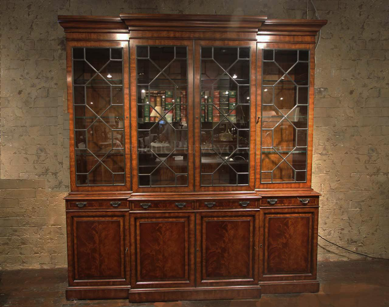 Large antique reproduction mahogany china cabinet with lights