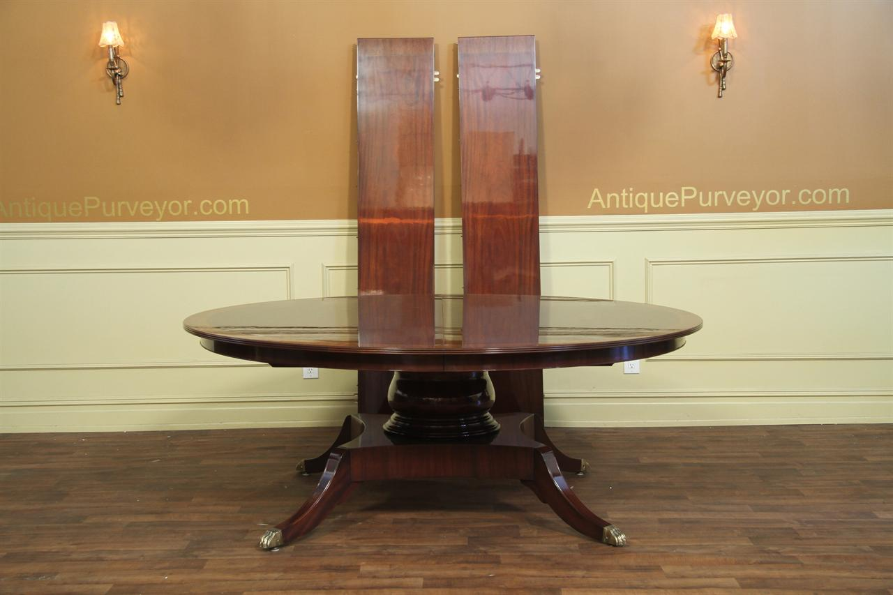Custom 78 Inch Round American Made Dining Table With Leaves