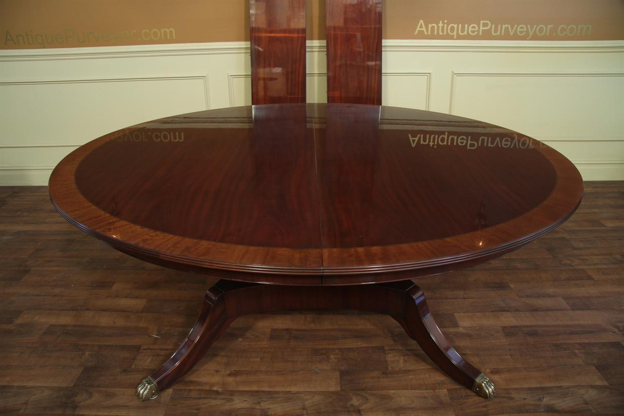 Custom 78 inch round american made dining table with leaves Round dinner table for 10