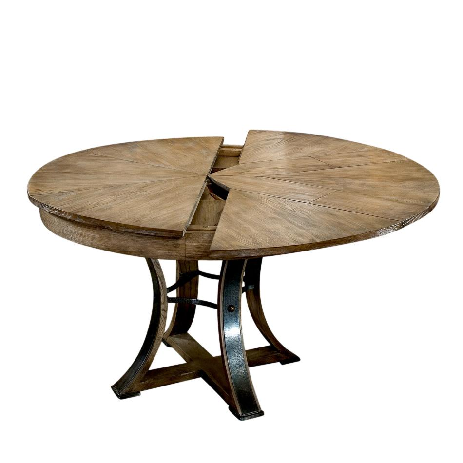 Rustic Metal And Wood Round Dining Table Self Storing Leaves