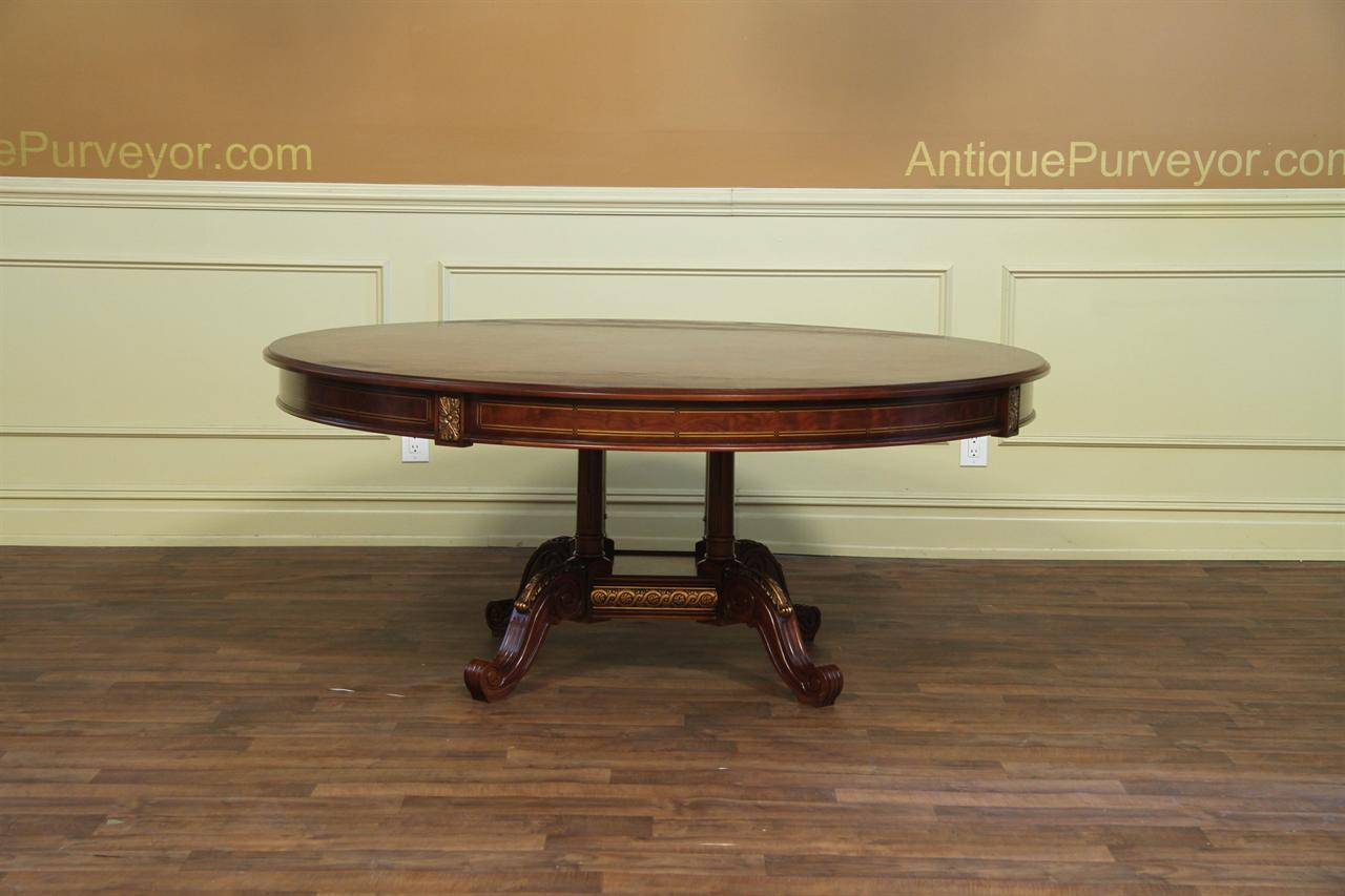 Round dining table with mahogany and walnut inaly gold for Mahogany dining table