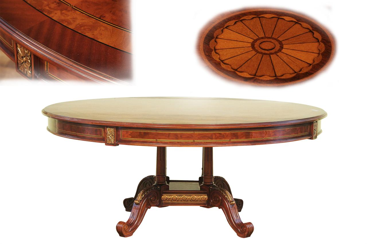 Formal and traditional 70 in round inlaid mahogany dining room table
