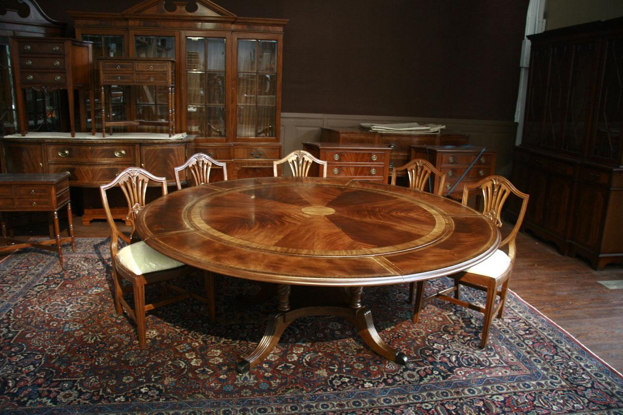 Round mahogany dining table w perimeter leaves ebay for Fancy round dining table